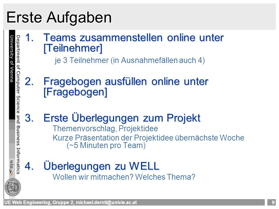 Erste Aufgaben Teams zusammenstellen online unter [Teilnehmer]